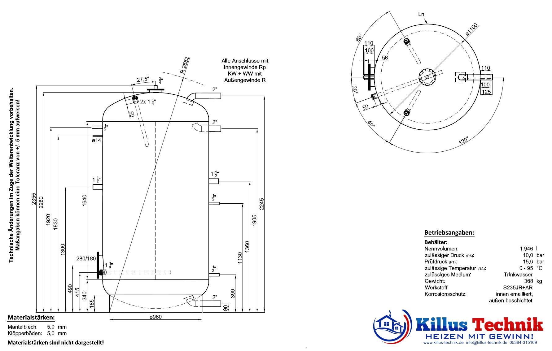Abmessungen Zeichnung emaillierter Brauchwasserspeicher BSP 2000 Killus-Technik.de